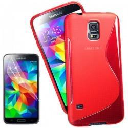 Silikon etui za Samsung Galaxy S5 Mini +Folija ekrana Rdeča barva