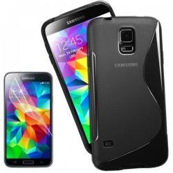 Silikon etui za Samsung Galaxy S5 Mini +Folija ekrana Črna barva