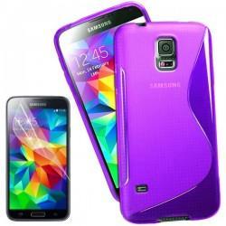 Silikon etui za Samsung Galaxy S5 Mini +Folija ekrana Vijola barva