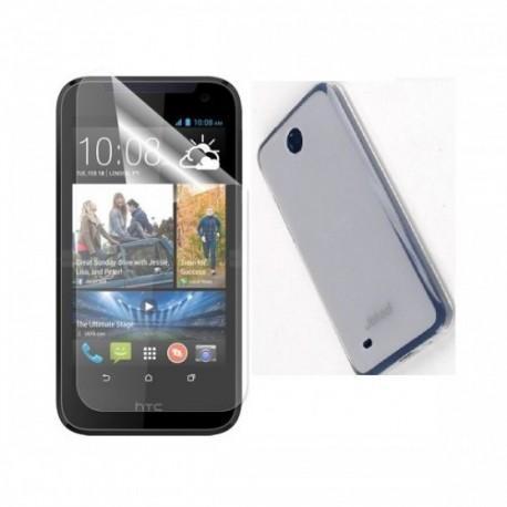 Silikon etui za HTC Desire 310 +Folija ekrana,Bela mat barva