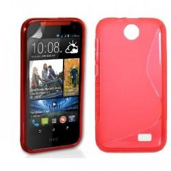Silikon etui za HTC Desire 310 +Folija ekrana Rdeča barva