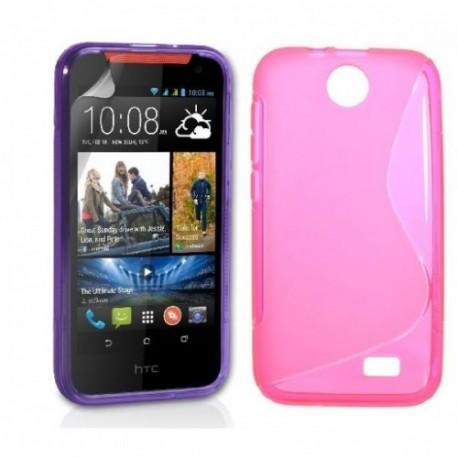 Silikon etui za HTC Desire 310 +Folija ekrana Pink barva