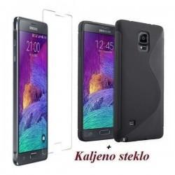 Silikon etui za Samsung Galaxy Note 4 TPU Črna barva+Kaljeno steklo