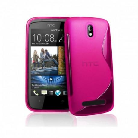 Silikon etui za HTC Desire 500 +zaščitna folija ,Pink barva