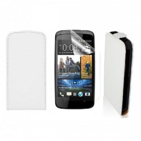 Etui za HTC Desire 500 Preklopna+ zaščitna folija ekrana, Bela barva