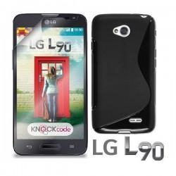 Silikon etui za LG L90 +Folija ekrana, Črna barva