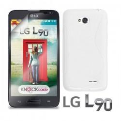 Silikon etui za LG L90 +Folija ekrana, Bela barva