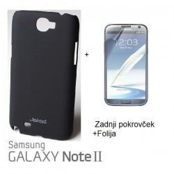 Etui za Samsung Galaxy Note II ,N7100 Zadnji pokrovček +Folija, Črna barva