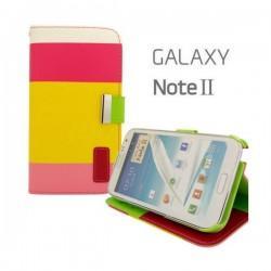 Torbica Etui zaščita za Samsung Galaxy Note 2 N7100 Preklopna- Barvna