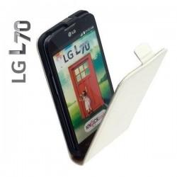 Torbica za LG L70 Preklopna +Zaščitna folija ekrana, Bela barva