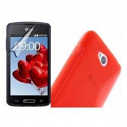 Silikon etui za LG L50 +Folija ekrana Rdeča barva