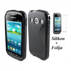 Silikon Etui za Samsung Galaxy Xcover 2 S7710 +folija, črna barva