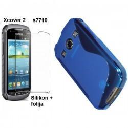 Silikon Etui za Samsung Galaxy Xcover 2 S7710 +folija, Modra barva