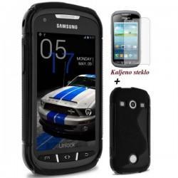 Silikon etui za Samsung Galaxy Xcover 2 Črna barva +Kaljeno steklo