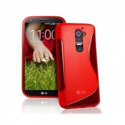 Silikon etui za LG G2 +Folija ekrana, Rdeča barva