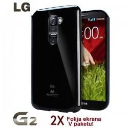 Silikon etui za LG G2 + 2x Folija High-Quality ,Črna barva