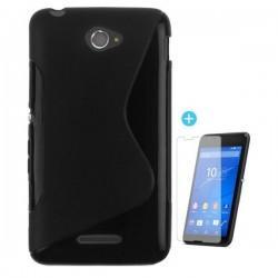 Silikon etui za Sony Xperia E4 Črna barva+ folija