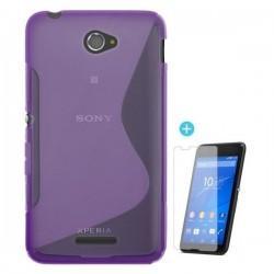 Silikon eui za Sony Xperia E4 Vijola barva+ folija ekrana