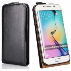 Preklopna usnjena torbica za Samsung Galaxy S6 Edge Črna barva