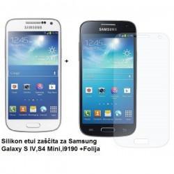 Silikon etui Jekod za Samsung Galaxy S4 Mini +Folija, Bela mat