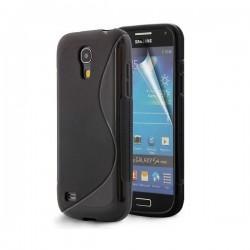 Silikon etui za Samsung Galaxy S4 Mini +Folija, Črna barva
