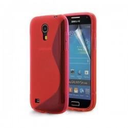 Silikon etui za Samsung Galaxy S4 Mini +Folija, Rdeča barva