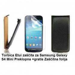 Torbica za Samsung Galaxy S4 Mini Preklopna, črna barva +Zaščitna folija
