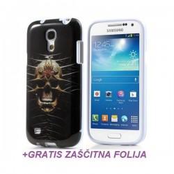 Silikon etui za Samsung Galaxy S4 Mini +Folija ekrana, Motiv Skull