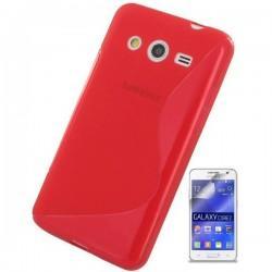 Silikon etui za Samsung Galaxy Core 2 +Folija ekrana, Rdeča