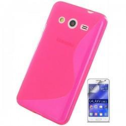 Silikon etui za Samsung Galaxy Core 2 +Folija ekrana, Pink