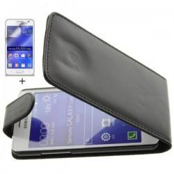 Preklopna Torbica za Samsung Galaxy Core 2+ Zaščitna folija, Črna barva