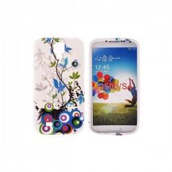 Silikon etui za Samsung Galaxy S4 +Folija Gratis, Blue Flowers