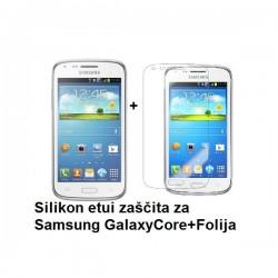 Silikon etui Jekod za Samsung Galaxy Core +Folija ekrana, Transparent