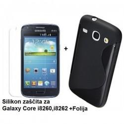 Silikon etui za Samsung Galaxy Core +Folija ekrana, Črna barva
