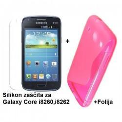 Silikon etui za Samsung Galaxy Core +Folija ekrana, Pink barva