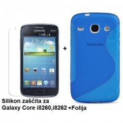 Silikon etui za Samsung Galaxy Core +Folija ekrana, Modra barva