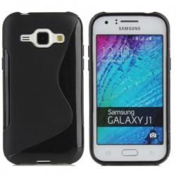 Silikon Etui za Samsung Galaxy J1, Črna barva+ folija ekrana