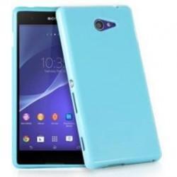 Silikon etui za Sony Xperia M4 Aqua, Modra barva, priložena folija ekrana