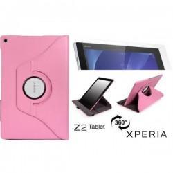 Torbica za Sony Xperia Z2 Tablet, Vrtljiva 360+ Folija ekrana, Pink barva