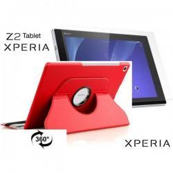Torbica za Sony Xperia Z2 Tablet, Vrtljiva 360+ Folija ekrana, Rdeča barva