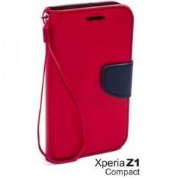 Preklopna Torbica Fancy za Sony Xperia Z1 Compact, Rdeča barva