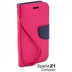 Preklopna Torbica Fancy za Sony Xperia Z1 Compact, Pink barva