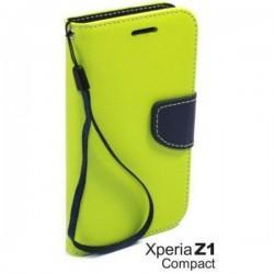 Preklopna Torbica Fancy za Sony Xperia Z1 Compact, Zelena barva