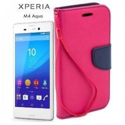 Preklopna Torbica Fancy za Sony Xperia M4 Aqua, Pink barva