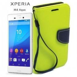 Preklopna Torbica Fancy za Sony Xperia M4 Aqua, Zelena barva