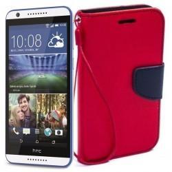 Preklopna Torbica Fancy za HTC Desire 820, Rdeča barva
