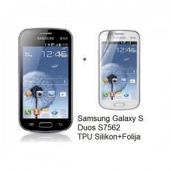Silikon etui Jekod za Samsung Galaxy S Duos, Galaxy Trend +Folija, Temna barva