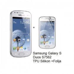 Silikon etui Jekod za Samsung Galaxy S Duos, Galaxy Trend +Folija, bela mat barva