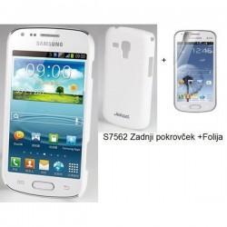 Etui Jekod za Samsung Galaxy S Duos, Galaxy Trend, Zadnji pokrovček +Folija, Bela barva