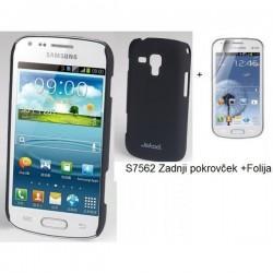 Etui Jekod za Samsung Galaxy S Duos, Galaxy Trend, Zadnji pokrovček +Folija, Črna barva